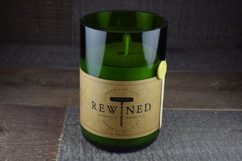 Pinot Grigio scented candle in a recycled wine bottle.  Handcrafted in the USA.