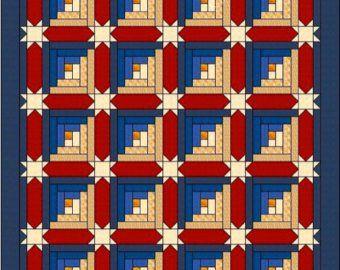 Log Cabin Quilt Pattern – Log Cabin Carpenter Star – King Size: 105″ x 105″ , PDF