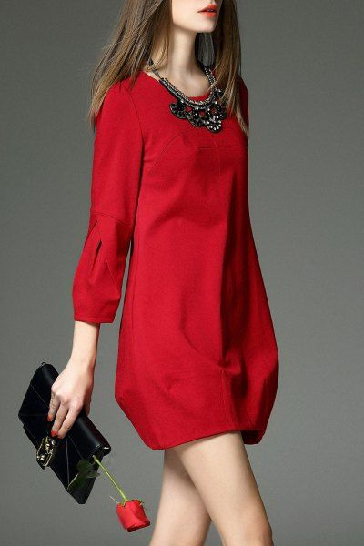 Sweetsmile Red Lantern Sleeve A Line Work Dress   Mini Dresses at DEZZAL Click on picture to purchase!