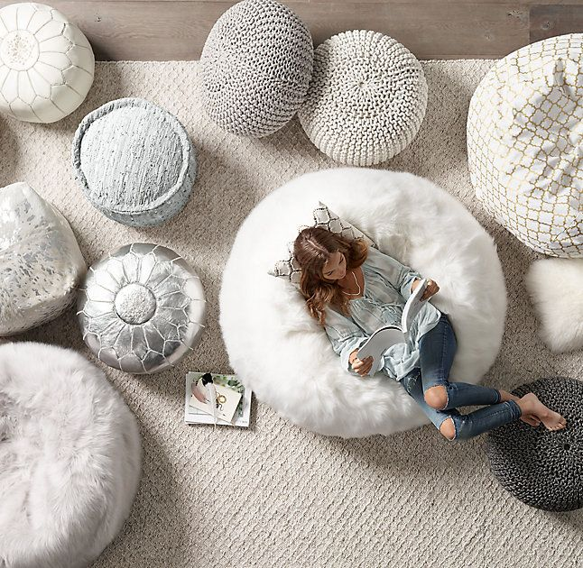 RH TEEN's Braided Metallic Leather Pouf:Interwoven braided strands of solid and metallic leather set our pouf apart. A deconstructed round edge adds to its rough-hewn glamour, while the dense fill provides structured seating.