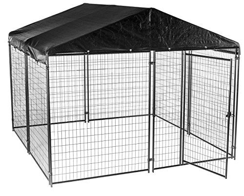 Dog Kennel with Waterproof Cover- Lucky Dog Modular Box Kennel - This Welded Animal Enclosure is Perfect for Medium to Large Dogs and Animals and is Designed with Their Safety and Comfort In Mind. Includes Roof and Cover. Dimensions (6'H x 10'L x 10'W)