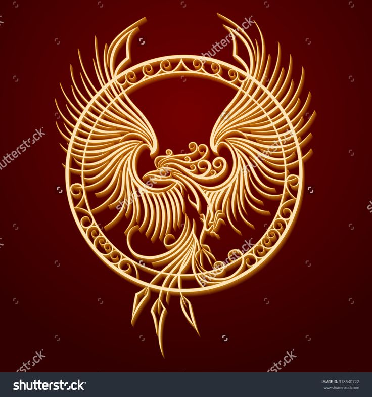 Phoenix Bird With Rising Wings In A Circle. Ancient Symbol Of Revival. Stockowa ilustracja wektorowa 318540722 : Shutterstock