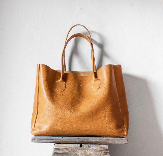 Leder-Shopper in Butterscotch / Leder Tasche / von morelle auf Etsy