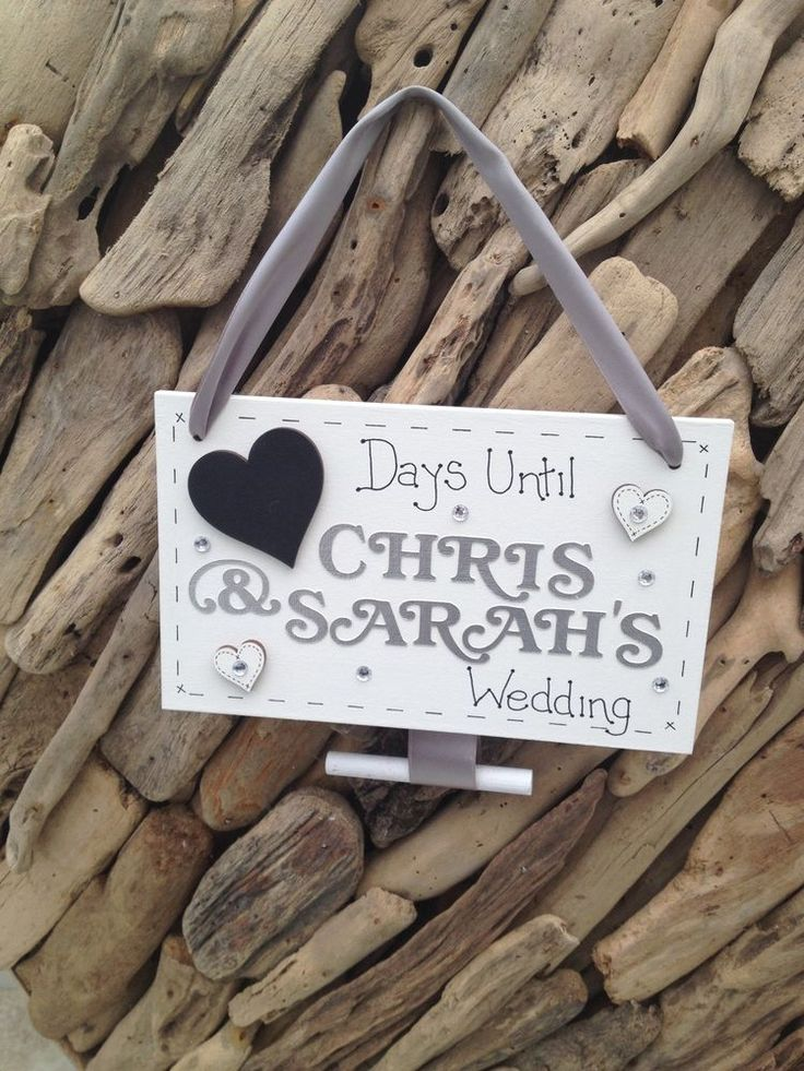 Wedding Countdown Bride to Be Personalised Plaque Sign Engagement Gift Handmade