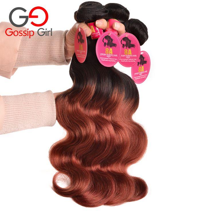 Gossip Girl Ombre Brazilian Body Wave 4 Bundles Black And 33#,Two Tone Brazilian Weave Hair Ombre Brazilian Hair Weave Bundles