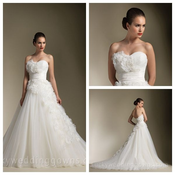 Floral Strapless Wedding Dress Sweetheart Accented with Organza Roses