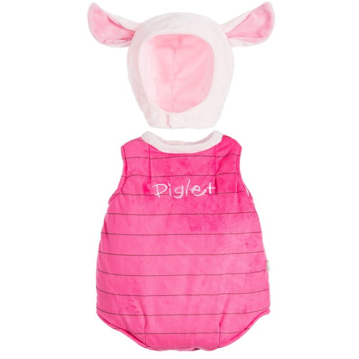Two piece Piglet dress-up costume by Disney Baby. This soft, plush padded tabard has easy to fasten popper openings on the back and underneath. This style is fully lined for comfort and comes with a feature hat. It's the perfect cute outfit for a carnival event or for dress-up fun.
