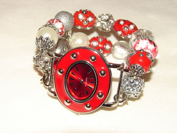 Red and Silver Chunky Beaded Watch Band and Face  by BeadsnTime, $30.00