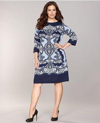 INC International Concepts Plus Size Dress, Three-Quarter-Sleeve Printed Shift - Womens Dresses - Macy's