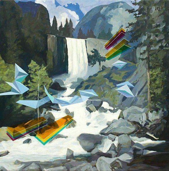 Painting, Waterfall, 2013, David Ledger, oil on linen, 101 x 101cm