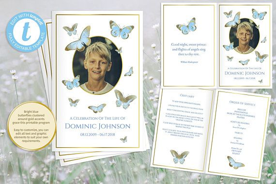 Printable Boys Funeral Program Blue And Gold Obituary Template
