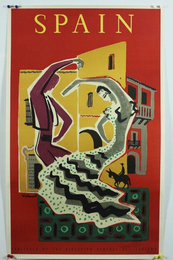 Vintage Spain Travel Poster by Villemot, 1953