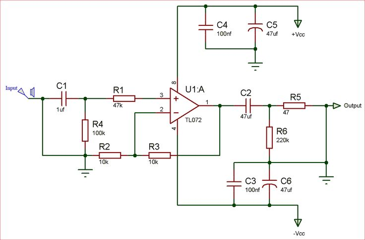 Circuit    diagram    of audio preamplifier using TL072 opamp