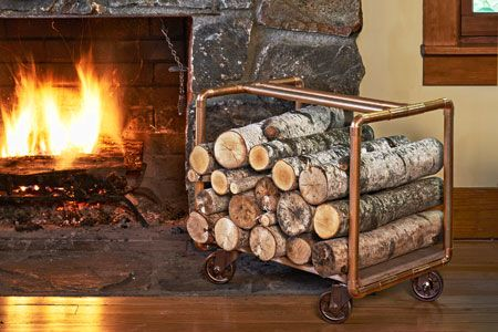 Ferrying firewood to the hearth just got a lot easier with this durable cart