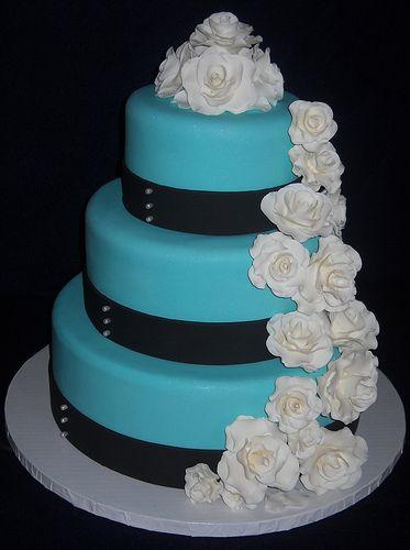 Tiffany Blue Wedding Cake, do red ribbon instead of black