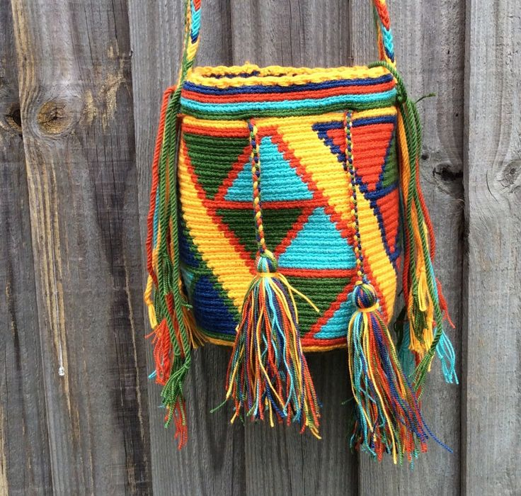 Authentic Colombian Wayuu Mochila bag small size hand-woven in LaGuajira! by peaceandluvsm on Etsy