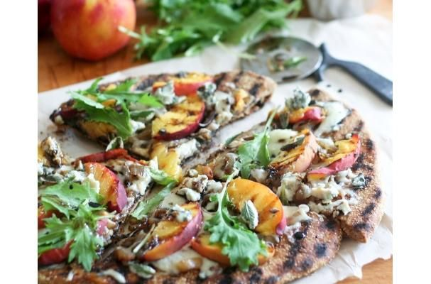 Rustic Grilled Peaches Pizza Recipe | savor | Pinterest