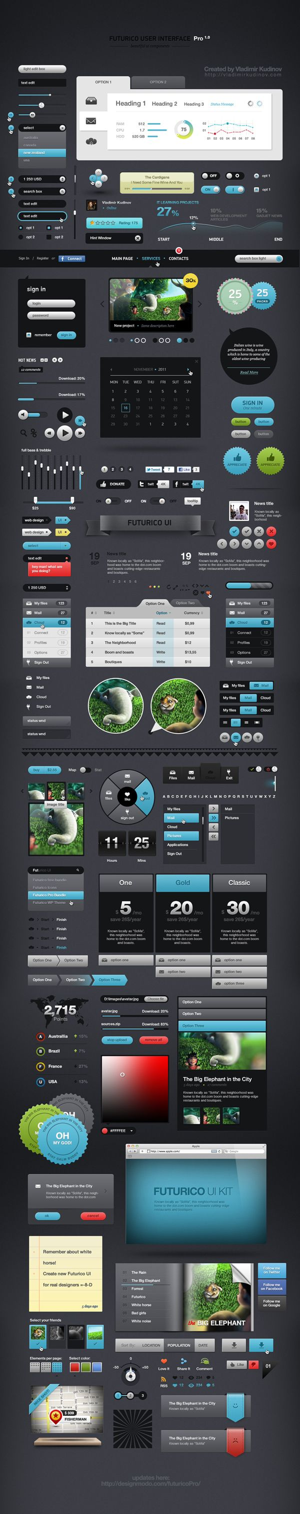 Futurico User Interface Pro by Vladimir Kudinov, via Behance  #ui #app #web