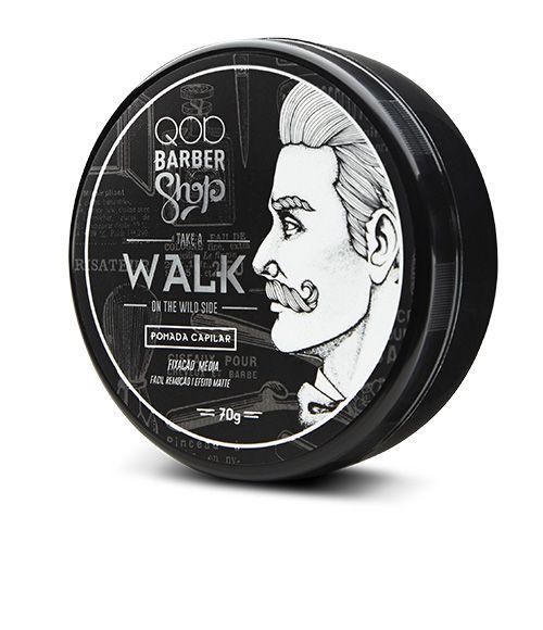 QOD BARBER SHOP POMADA WALK  oferece um efeito Matte (opaco), com fixação média, ideal para estruturar e modelar os cabelos curtos e médios. Com polímeros de fixação de última geração, o produto QOD promove a modelagem dos cabelos por períodos longos, e é resistente a umidade.    Veja outras opções de produtos    QOD Barber Shop.