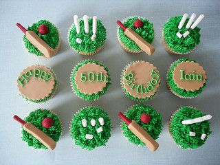 Inspiration for a Cricket Cake and Cupcakes, Novelty Cakes. www.sweetsecretsdubai.com