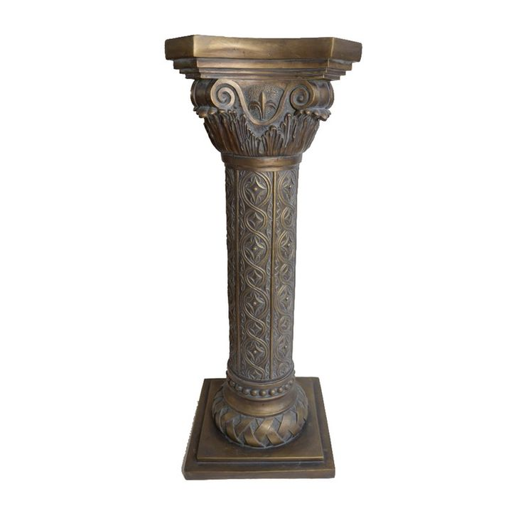 An ornate resin pedestal stand. This gold tone and bronze tone painted resin stand features an octagonal shape and an ornate swirling and scrolling design and sits on a square resin base. No manufacturer markings are present to the piece.