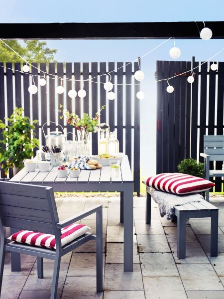 A festive setting outdoors to enjoy day and night - powered by sunlight. Designed by IKEA.