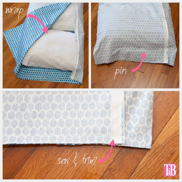 DIY Pillow Lounger Wrapping and Sewing Ends