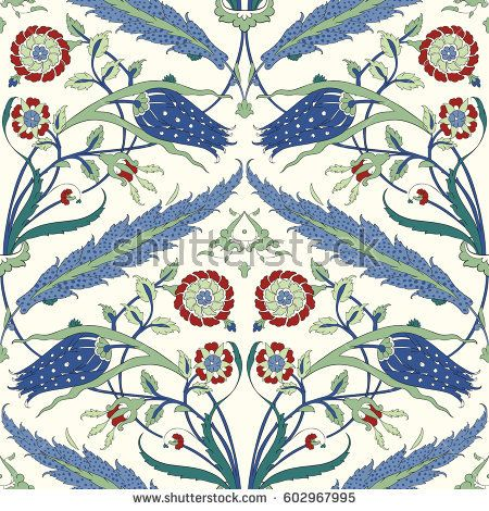 Floral Ornamental pattern. Traditional Arabic seamless ornament. Vector. Background. Iznik