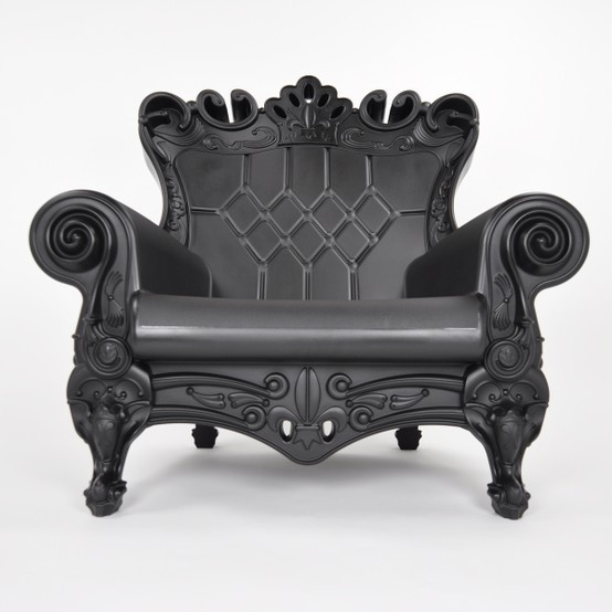 Black plastic baroque outdoor chair i like it for Plastic baroque furniture