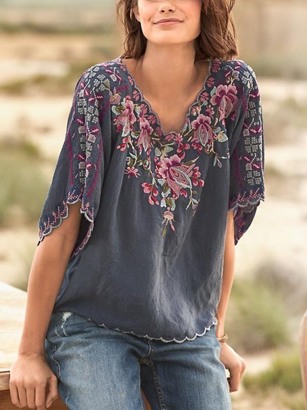 Bohemian Womens Ethnic Floral Print Tops Ladies Summer Holiday Beach T Shirt Tee