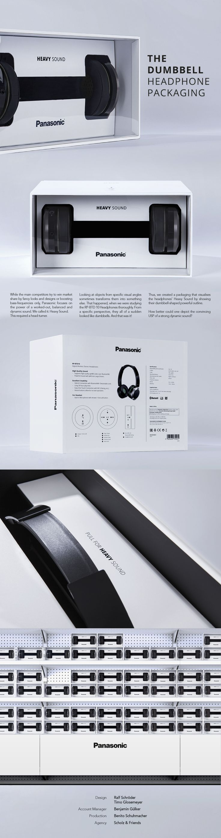Panasonic - The Dumbbell Headphone PackagingPanasonic is one of the most important innovators in electronic products worldwide and manufactures headphones of the highest quality. As competition in this market increases sharply, our task was to develop a…
