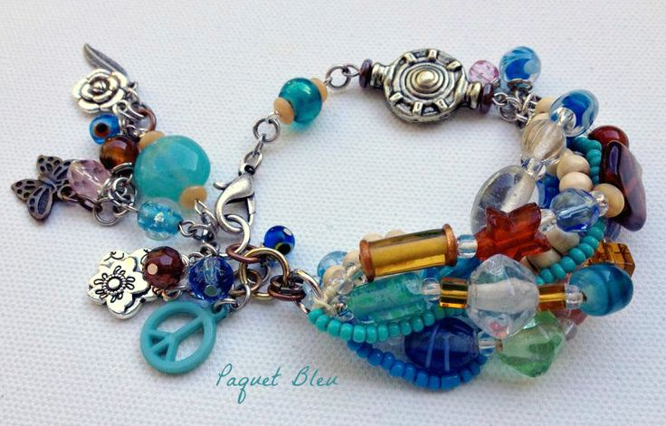 Water colors hippie girl bracelet