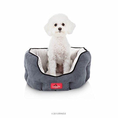 awesome BRINDLE Washable Round Bolster Dog Bed - Gray Microsuede Pet Bed