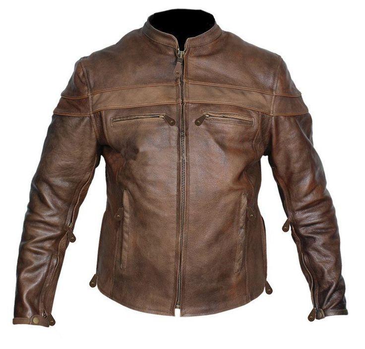 Mens Vintage Cafe Racer Brown Leather Jacket
