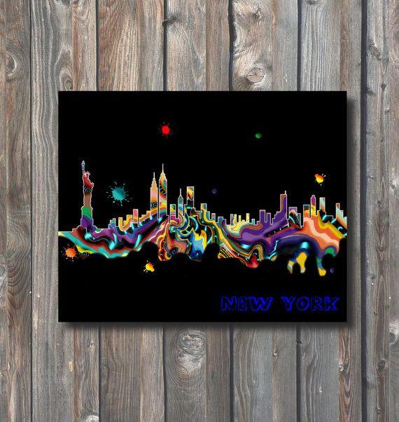 PRINTABLE New York Skyline Wall Art-Printable by HappyFiestaDesign