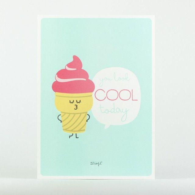 <p>Affiche You look cool today (tu est belle aujourd'hui) Mr Wonderfulen papier cartonné , design MrWonderful. A poser sur votre bureau ou à fixer dans votre salle de bain pour vous motiver dès le matin ! On aime son dessin gourmand et acidulé, à offrir ou à s'offrir!</p>