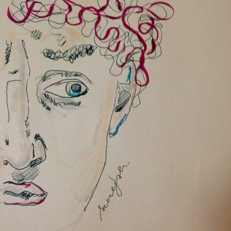 eye on you. #david #michaelangelo #sculpture #drawing #pencil #colours