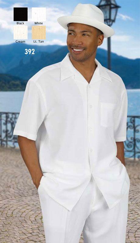 | Men's White Linen Walking Suit/ Leisure Suit