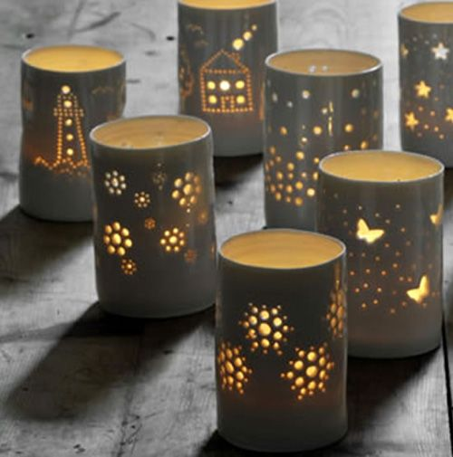 Luna Light: Ceramic Tea Light Holders do this with tin cans , punch hole pictures and create the ceramic look with one of the plast dip methods you can find on my art and craft tip boards, great lighting for camping, garden, coastal or rustic shabby chic living space or camper or caravan or beach hut, make cool christmas theme lanterns too