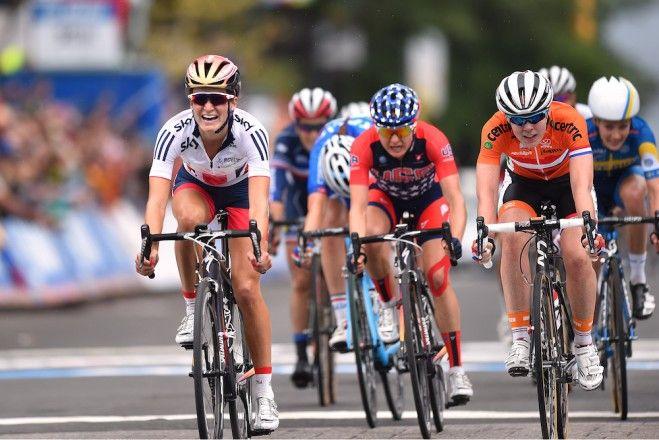 Road World Championships 2015 Richmond Virginia / Women Elite.......Great Britain's Lizzie Armitstead won with Anna Van der Breggen of Netherlands second and American national champion Megan Guarnier taking third.