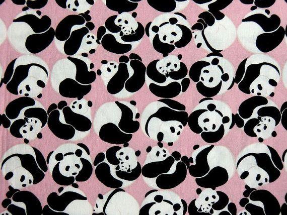Japanese Retro Panda Bear Fabric Cotton Pink Kawaii