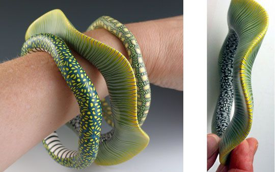 Beautifully fluid bangles by Melanie West. Check out her website for jaw-dropping Polymer Clay Art!