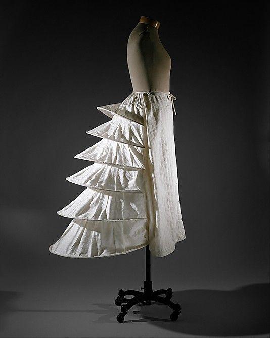 Bustle  Date: ca. 1871 Culture: British Medium: cotton, metal