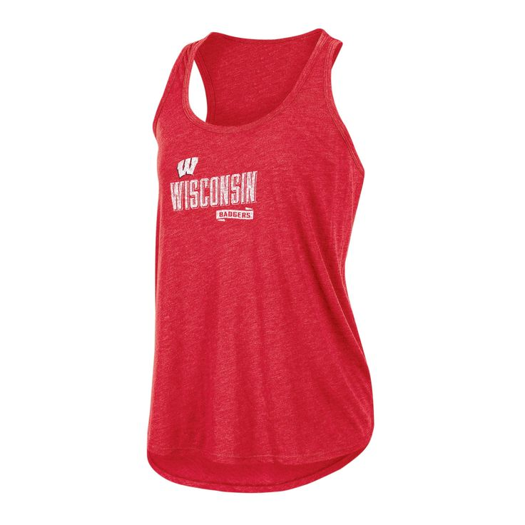 NCAA Women's Gameday Heathered Racerbank Soft Touch Poly Tank Top Wisconsin Badgers - M, Multicolored