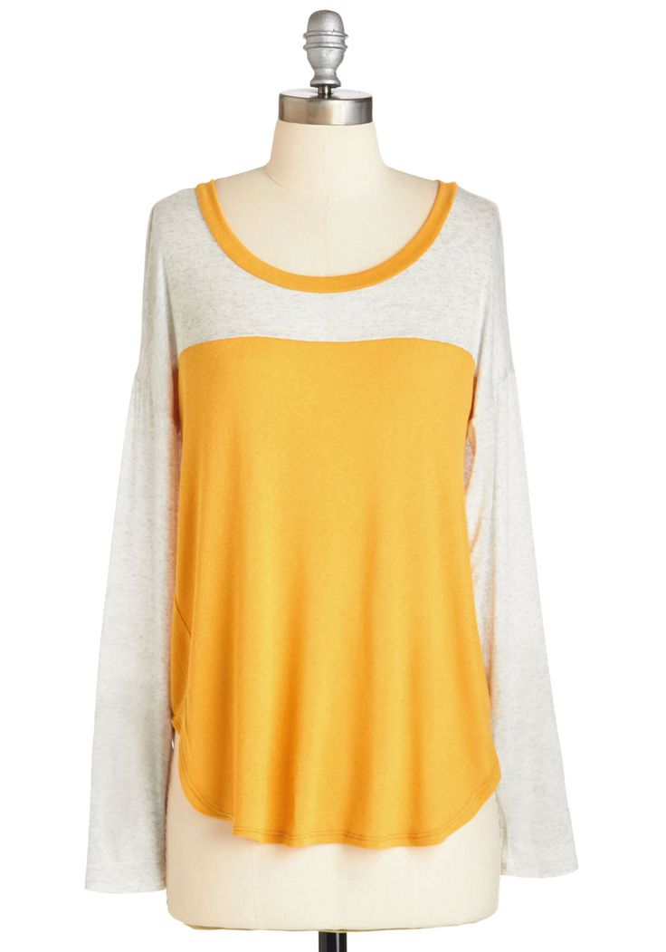 Cozy Crafting Top. Welcome Saturday by slipping into this colorblocked top and conquering all those art projects on your to-do list! #yellow #modcloth