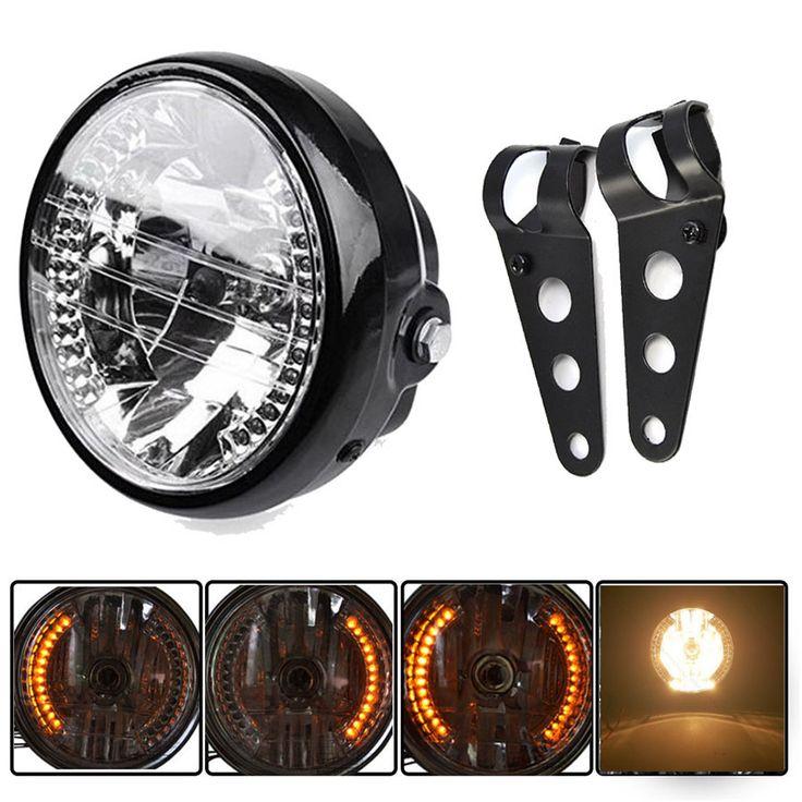 """Aliexpress.com: Comprar Motocicleta 7 """" faro Trun señal de luz de lámpara ámbar anillo del Halo LED interruptor de encargo Cafe Racer Bobber con el soporte de bobber fiable proveedores en Crystearth"""