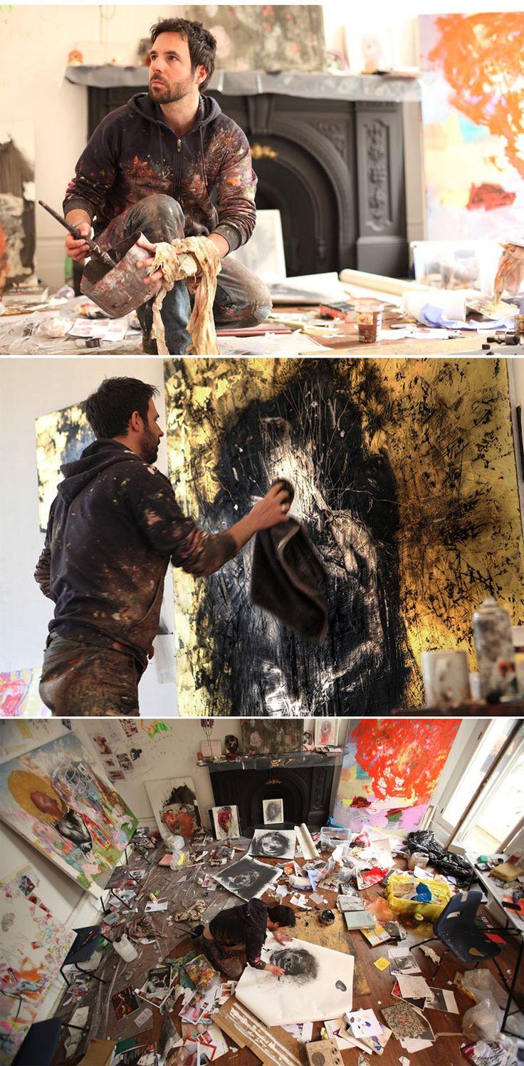 Antony Micallef working in his studio