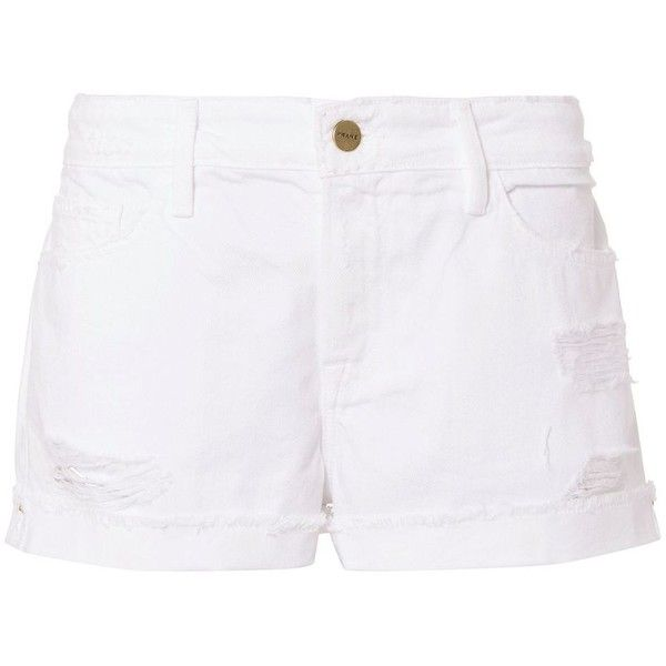 FRAME Women's Le Grand Garcon White Jean Shorts (640 PEN) ❤ liked on Polyvore featuring shorts, white, summer jean shorts, denim shorts, short jean shorts, jean shorts and cotton shorts
