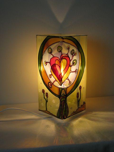 Szeretetfa - üvegfestett hangulatlámpa  www.asterglass.hu Burján Eszter 'Aster' üvegfestő művész