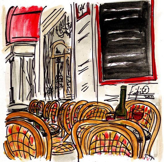 Eiffel Reflection Wine Cafe by Fifi Flowers on Etsy, $10.00 #Paris